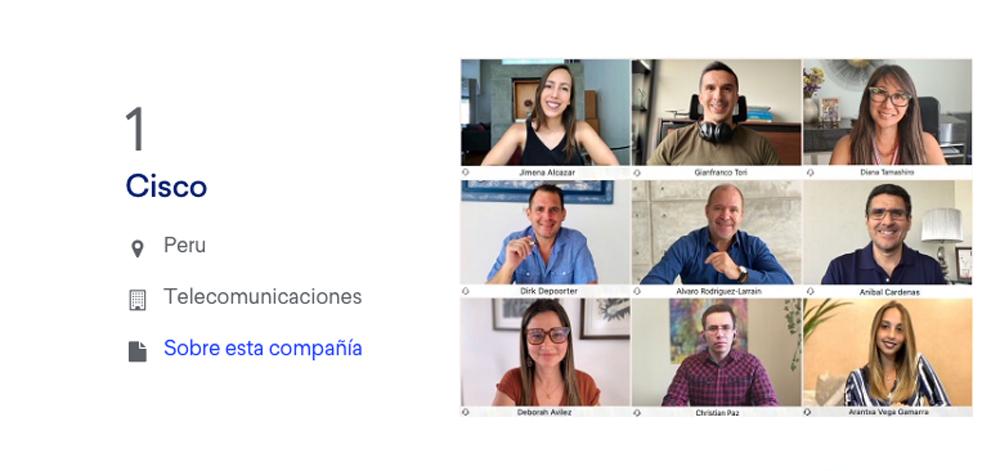 Cisco es la mejor empresa para trabajar en Perú