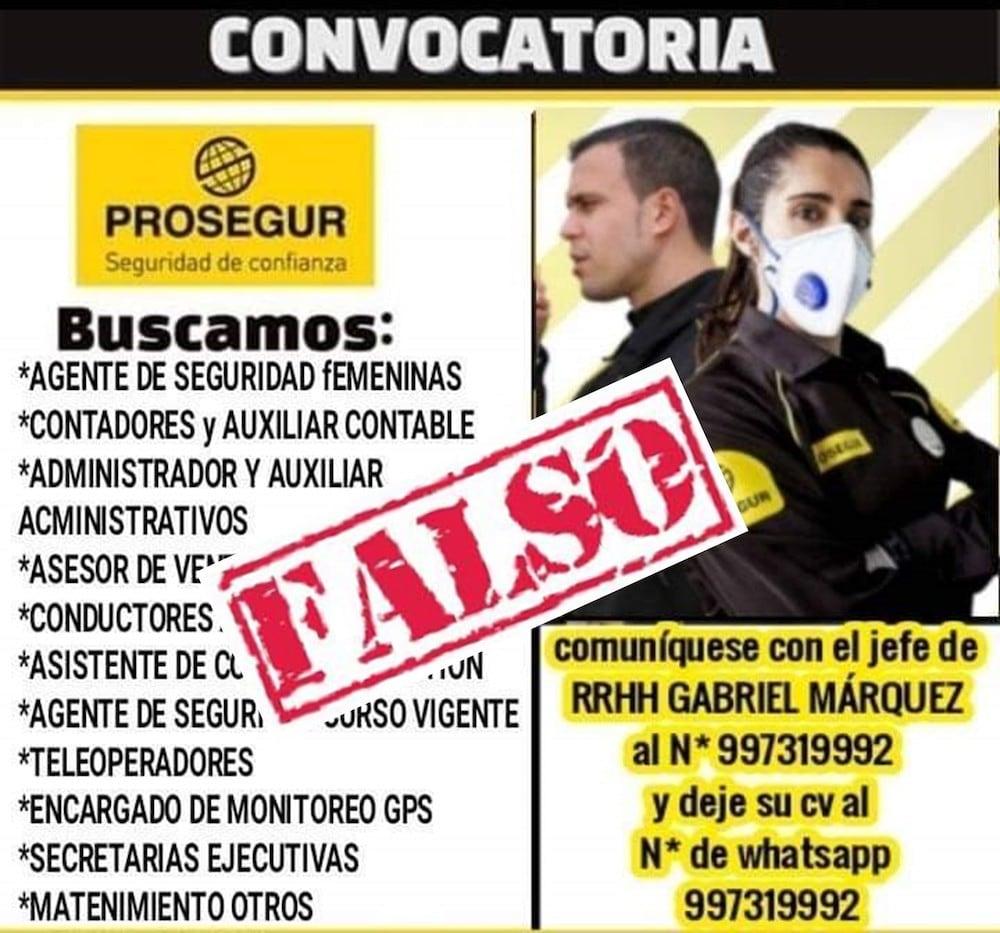 Prosegur alerta sobre falsas ofertas de empleo en Perú